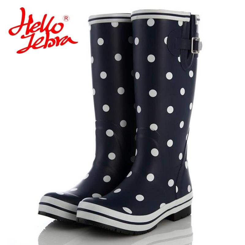 Hellozebra Women s Wellies handmade wellington Tall adjustable boots Fully waterproof Non slip rubber matte finish