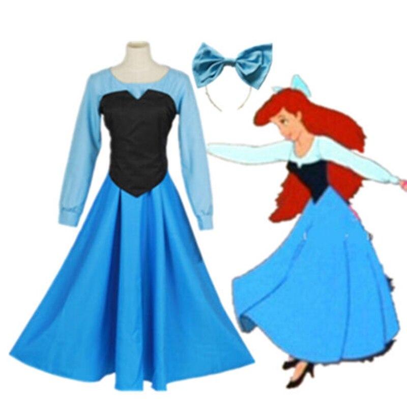 La petite sirène Ariel sirène princesse beauté uniforme en tissu robe Halloween Cosplay Costume pour femme fille robe de soirée