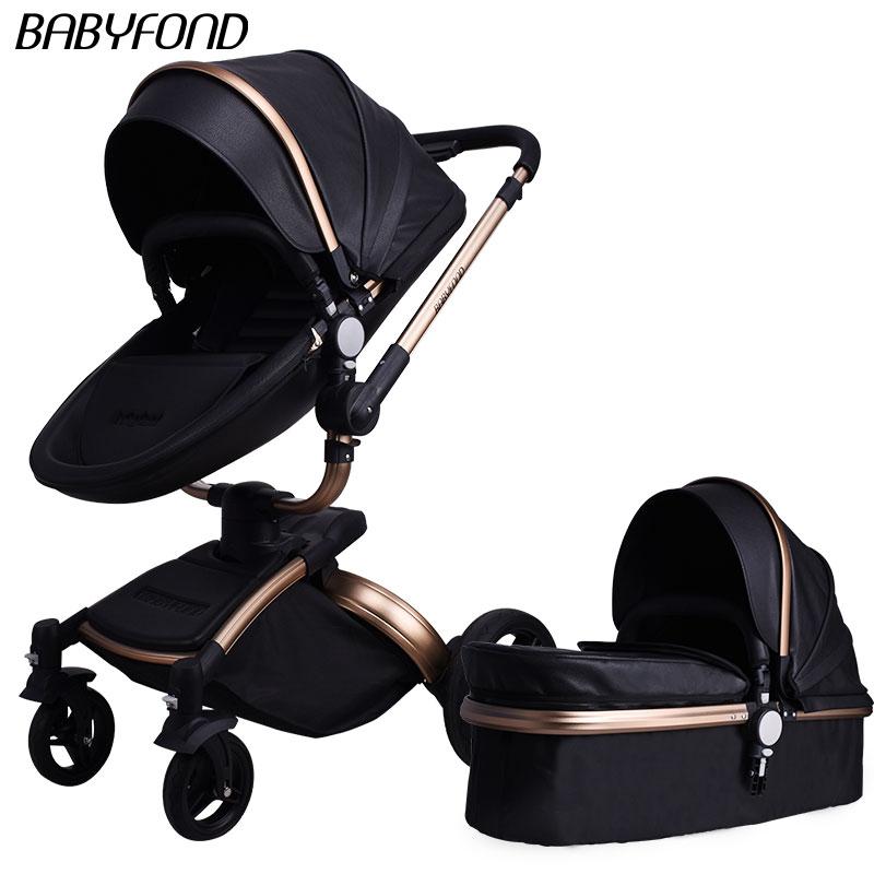 Envío gratis 3 en 1 cochecito de bebé de 360 grados de rotación cochecito de bebé marco dorado de cuero de alta visión coche de dos vías