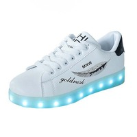Adult LED shoes USB Charging shoes for Men lace up PU leather casual women glowing sneakers lover shoes with Light up size 35 44