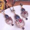 New Arrival Turkish Fashion Jewelry Women Best Bridal Necklace Earring Indian Accessories For Women Vintage Turkish Jewelry set