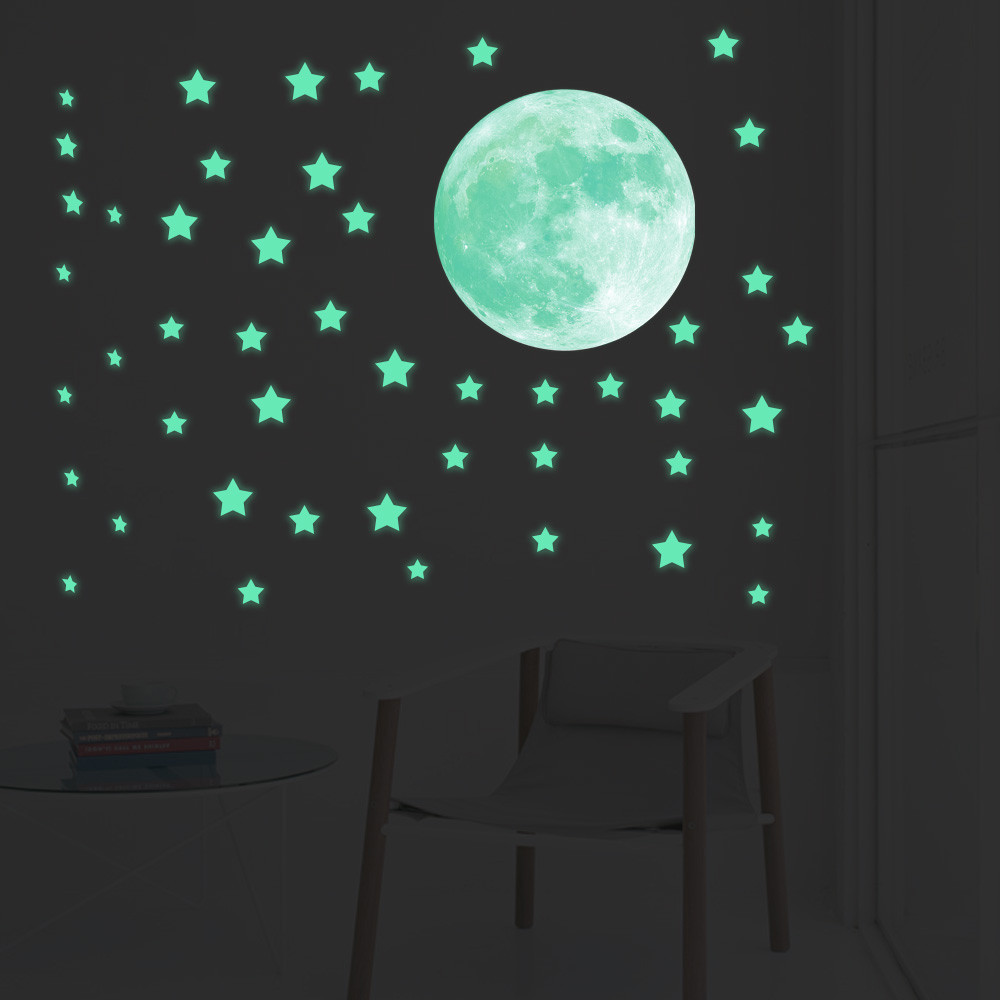 Stylish Glow In Dark Wall Ceiling Stars Moon Stickers Night Baby Kid Bedroom Home Decor Hot Sale From