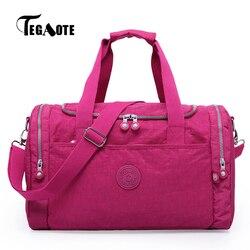 Tegaote mulheres sacos de viagem grande capacidade duffle bagagem bolsa portátil dobrado sholder bolsa tote feminino fim de semana saco grande 2019