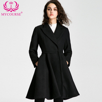 MYCOURSE Winter Coat Women Elegant Vintage Woolen Coats Maxi Dress Wool Coat Long Jacket Female Parka Slim Skirt Swing Jackets