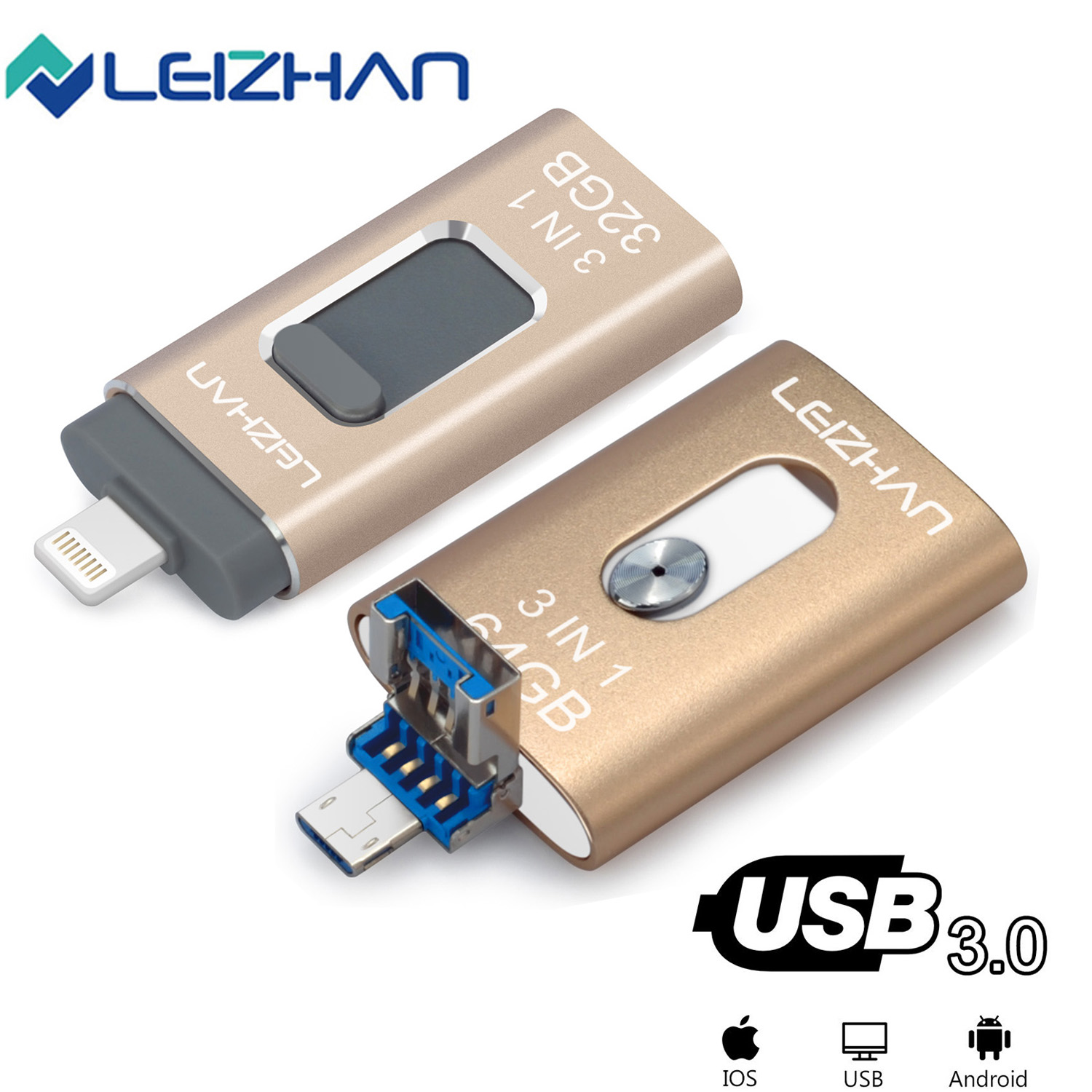 LEIZHAN Lightning USB Flash Drive For IPhone IPad Micro Android Phone Photostick Mobile 128GB 64GB 32GB 16GB Pendrive Usb 3.0