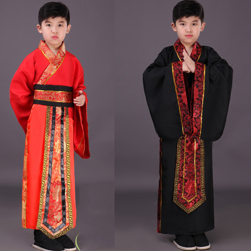 Chinese National Hanfu Black Red Ancient China Costume Hanfu Boys Clothing Traditional National Tang Suit Stage Costumes DN2577