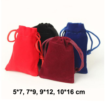 50pcs/lot 5x7, 7x9, 9x12, 10x16 cm Colorful Drawstring Velvet Pouches Jewelry Bags Necklace Earrings Ring Pouch Packing Gift Bag фото