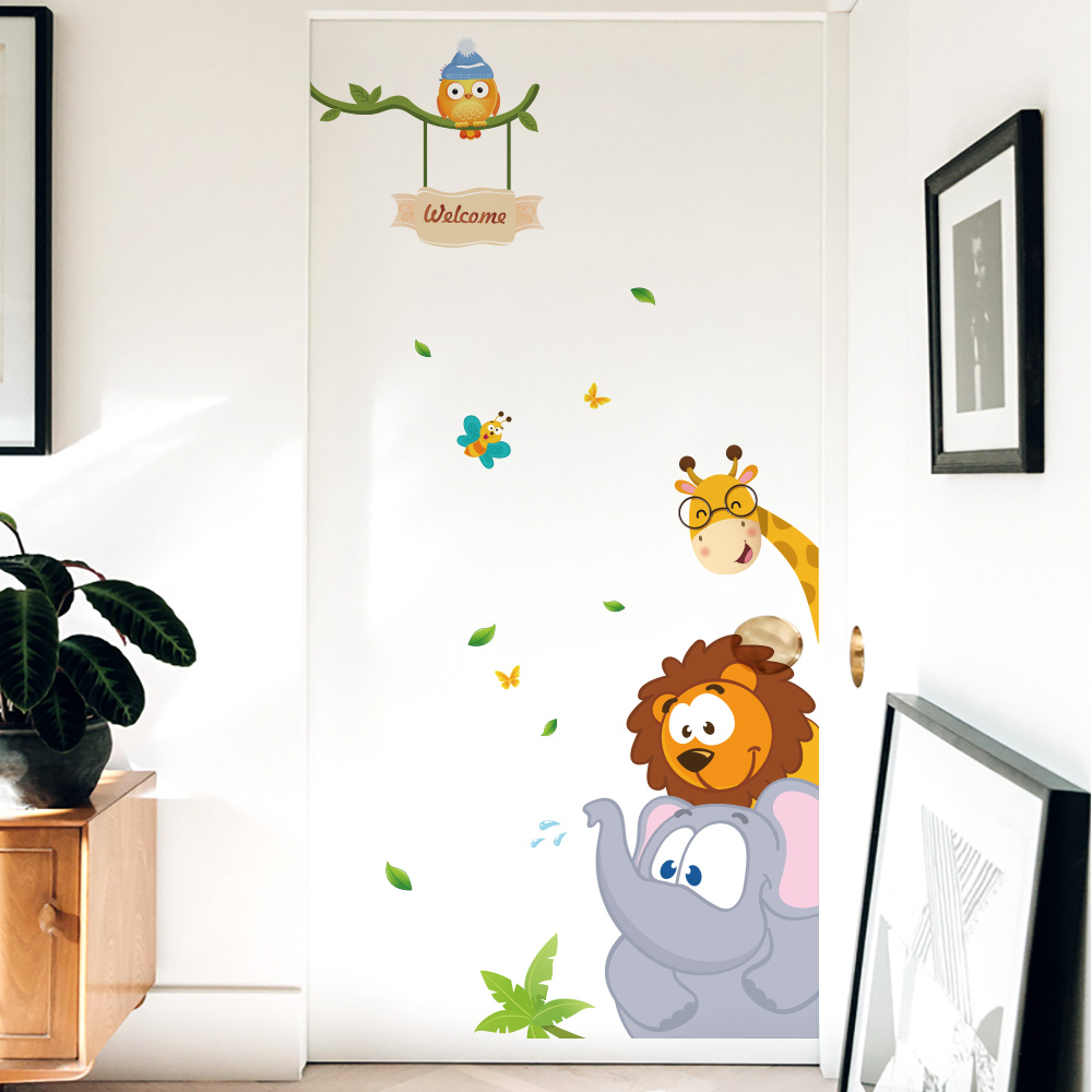 50x70cm Big Wall Stickers Animals Cartoon Cute Colorful Stained Creative Door Sticker Set Welcome DIY Self Adhesive Wallpaper in Wall Stickers from Home Garden