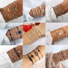 Rinhoo 5Pcs/Set Bohemian Colorful Charm Bracelets Love Shell Tassel Turtle Natural Stone Bracelet Sets Women Beach Jewelry Gifts