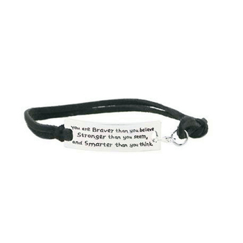 Men Letter Leather Velvet Bangles You are Braver Than you Believe Stronger than you seem and Smaeter Than You Think image