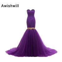 New Arrival 2017 Women Formal Evening Gowns Dresses Sweetheart Applique Satin And Tulle Sexy Mermaid Long