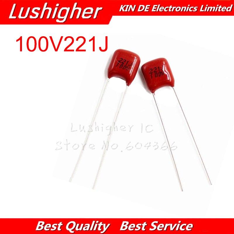 20PCS 100V221J 220PF 5% Pitch 5mm 220P 221 100V 221J CBB Polypropylene Film Capacitor