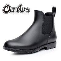 Для мужчин резиновые сапоги для дождя Модная обувь «челси» Повседневное слипоны водонепроницаемые полусапожки ПВХ модные острый носок Низ...