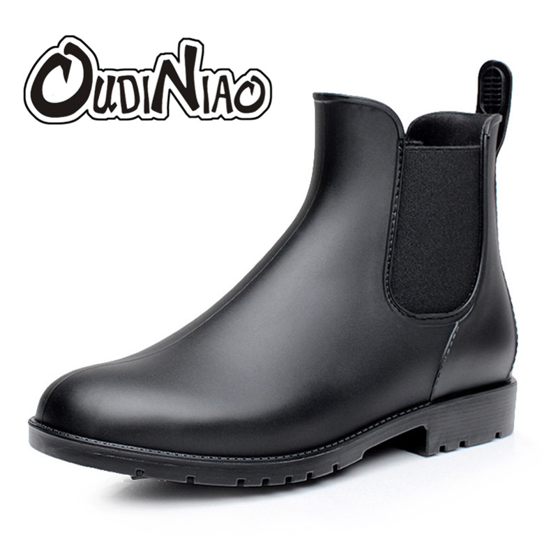Mens Rubber Rain Boots Fashion Chelsea Boots Men Casual Slip On Waterproof Ankle Boots PVC Shoes Pointed Toe Low Top Rainboots rain boots women pvc prince waterproof high heel water shoes tall rain boots ankle gummis rain boots female rubber toe rainboots
