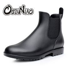 Mens Rubber Rain Boots Fashion Chelsea Boots Men Casual Slip On Waterproof Ankle Boots PVC Shoes Pointed Toe Low Top Rainboots