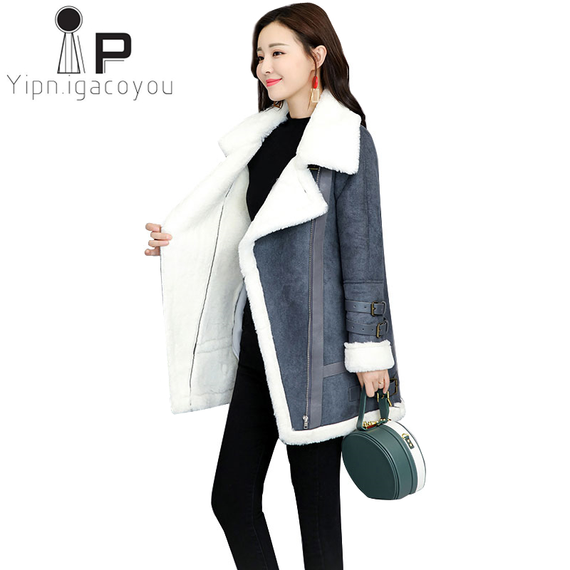 Winter Lambswool Jacket Women Long Coat Harajuku lus size Women Jacket   Leather   Faux   Suede   Outwear Slim Warm Thick Ladies Coats