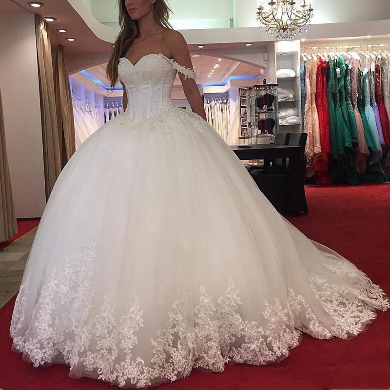 2019 New Arabic Ball Gown Wedding Dresses Sweetheart Lace Appliques Crystal Beaded Off Shoulder Puffy Vestido Plus Size Formal B in Wedding Dresses from Weddings Events