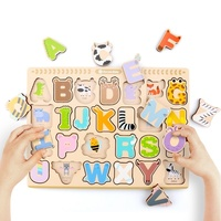 Cartoon Alphabet Puzzle Wooden Board Games Tangram Jigsaw Kids Letter Learning Educational Toys for Children