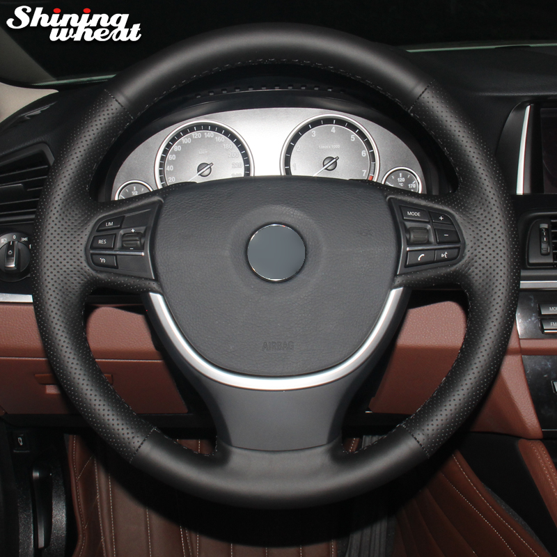 Shining Wheat Black Artificial Leather Car Steering Wheel Cover For BMW F10 F07 (GT) 2009-2017 F11