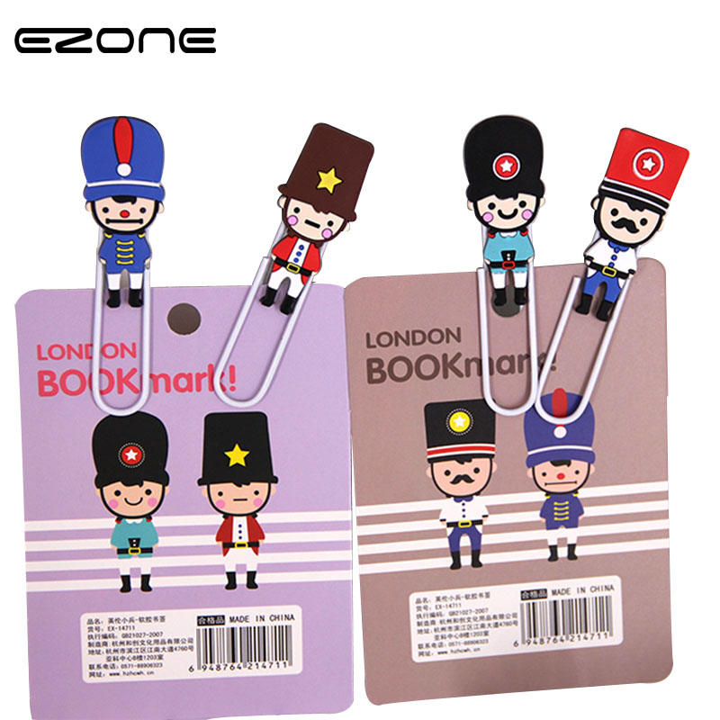 EZONE 2Pcs/Lot Soldier Bookmark Metal Paper Clips Creative School Stationery Items Book Marker Students Office Supplies