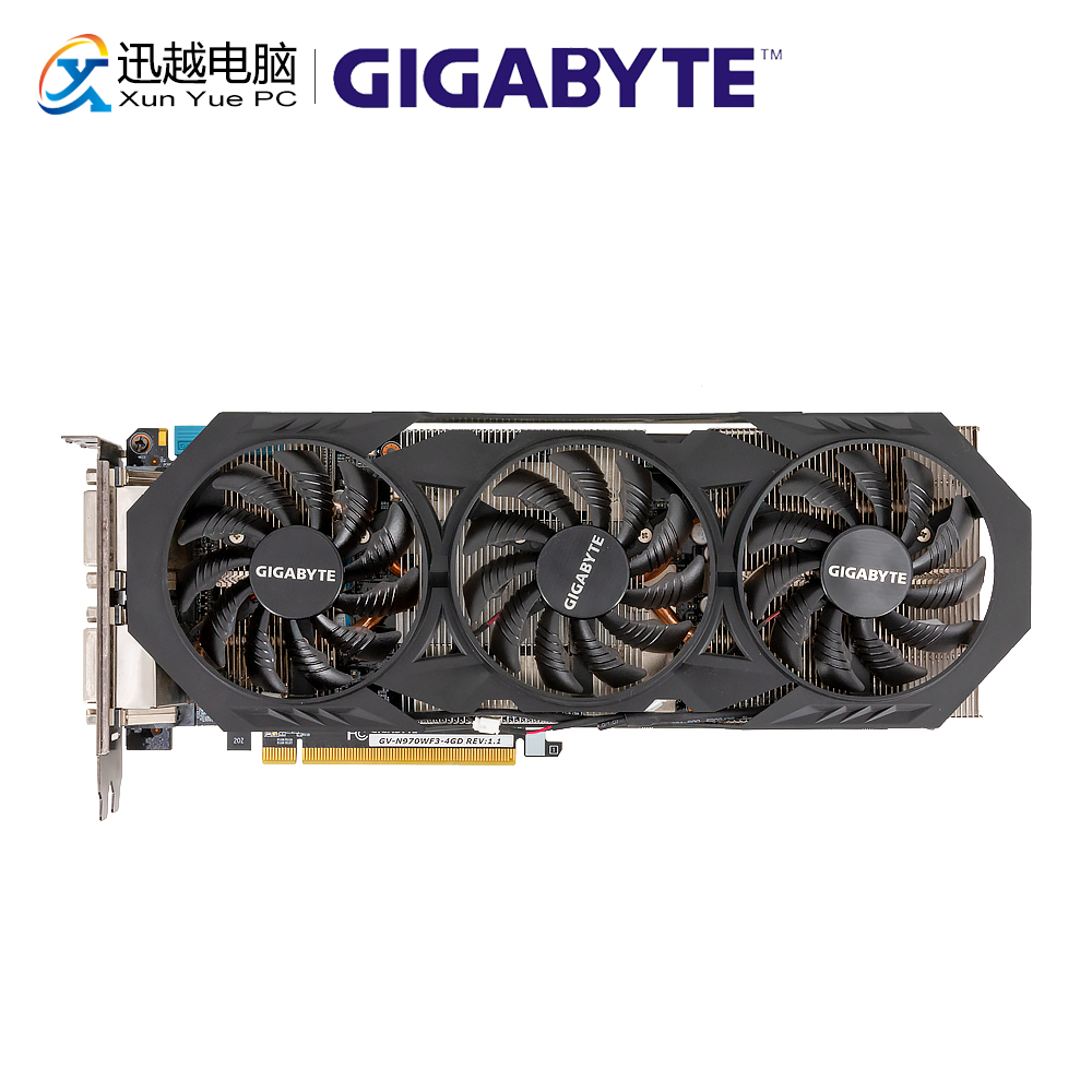 Gigabyte GV-N970WF3-4GD Original Graphics Cards 256Bit GTX 970 4G GDDR5 Video Card 2*DVI 1*HDMI 3*DP For Nvidia GeForce GTX970