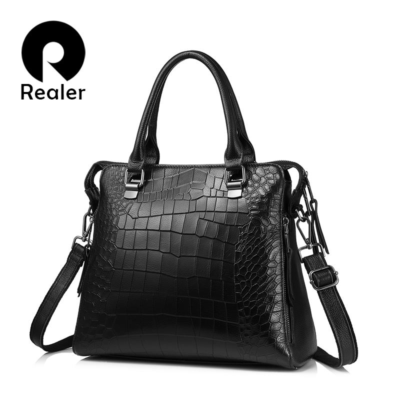 REALER Women Genuine Leather Handbags Fashion Crocodile Pattern Totes Evening Package Shoulder Messenger Bag Female Briefcase