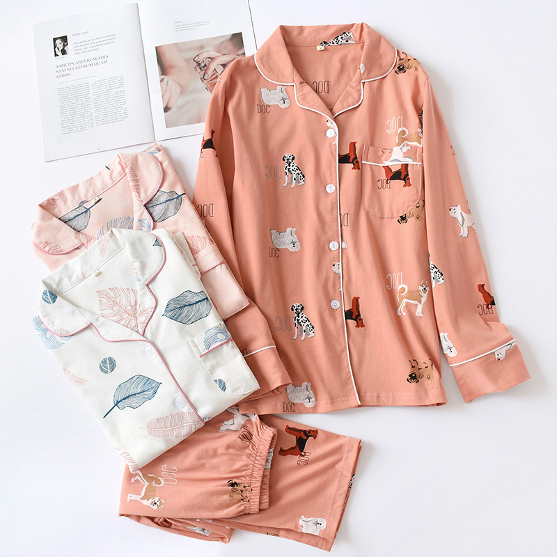 2019 Cotton Knitted Jersey Women's Long Sleeve Pants Pajamas Set Spring Autumn Thin Home Clothing Sleepwear