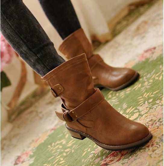 0e6e625ca2f8 Free shipping ankle boots women fashion short boot winter footwear wedge  shoes round toe low heel motorcycle boots