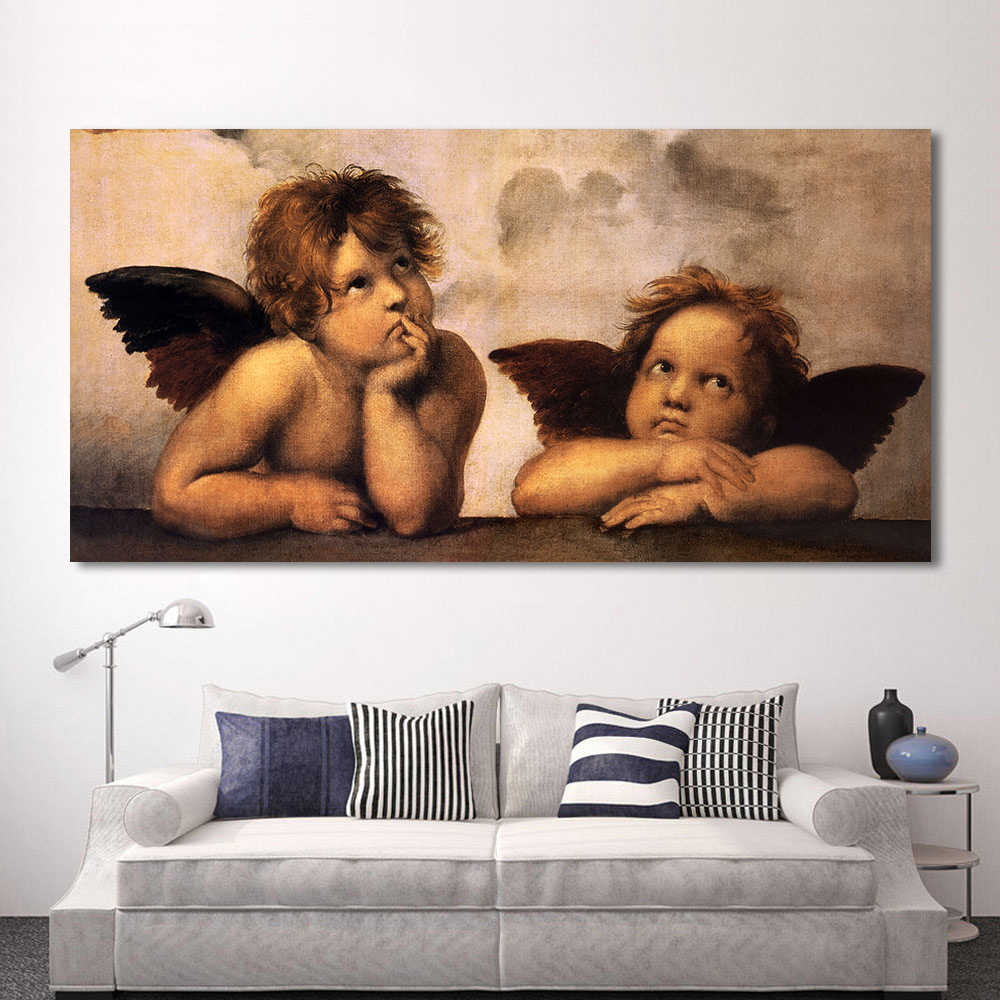 HDARTISAN Classical Oil Painting Canvas Art The Little Angel Wall Pictures For Living Room Modular Pictures Home Decor