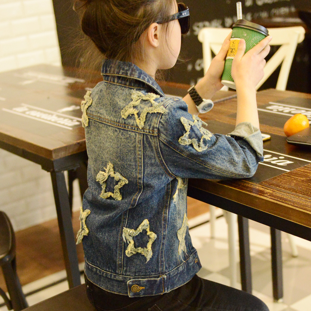 2016 spring autumn female child denim outerwear water wash denim thin coat fashion make old star
