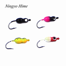 4Pcs Gourd Shaped Mini Lead Fish Jigging Hooks Lure 2.5cm 2.5g Winter Ice Fishing Lure Metal Lead Head Hook Fishing Tackle
