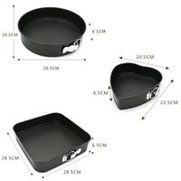 Set Non stick Springform Cake Pan Bakeware Mould with Removable Bottom Round Heart Square Shape