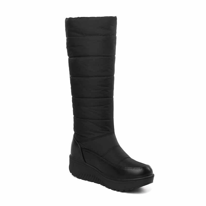 ESVEVA 2019 kadın ayakkabı sıcak yuvarlak ayak kış çizmeler üzerinde kayma takozlar düşük topuklu ayakkabılar kar botları sıcak diz yüksek çizmeler boyutu 35-43