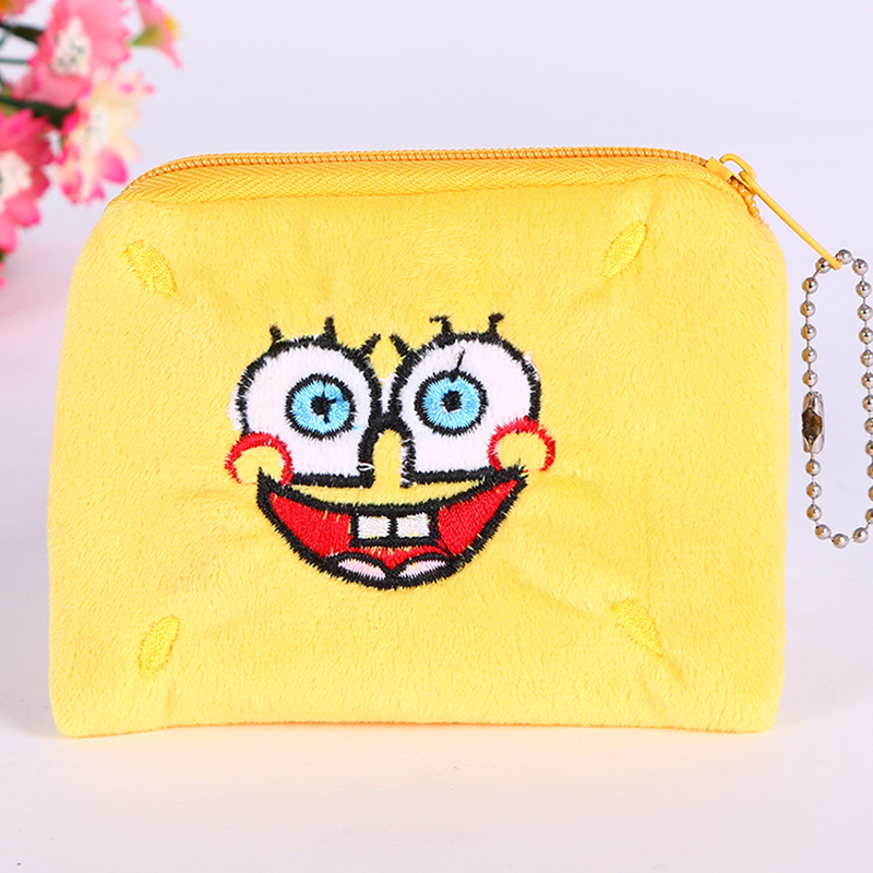 CHARA'S Brand Cartoon Anime Unisex Card Holders Embroidery Child Coin Purses Plush Fabrics Zipper Key Bags Women's