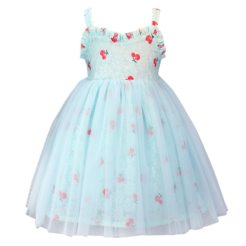 2019 sling blue cherry   dress   birthday party wedding baby   flower     girl     dress   B10