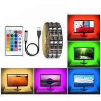 IP20 DC 5V tira de luz LED RGB USB SMD 5050 tira LED USB bande de guirnalda de luz de cinta Flexible TV Fondo decoración lámpara