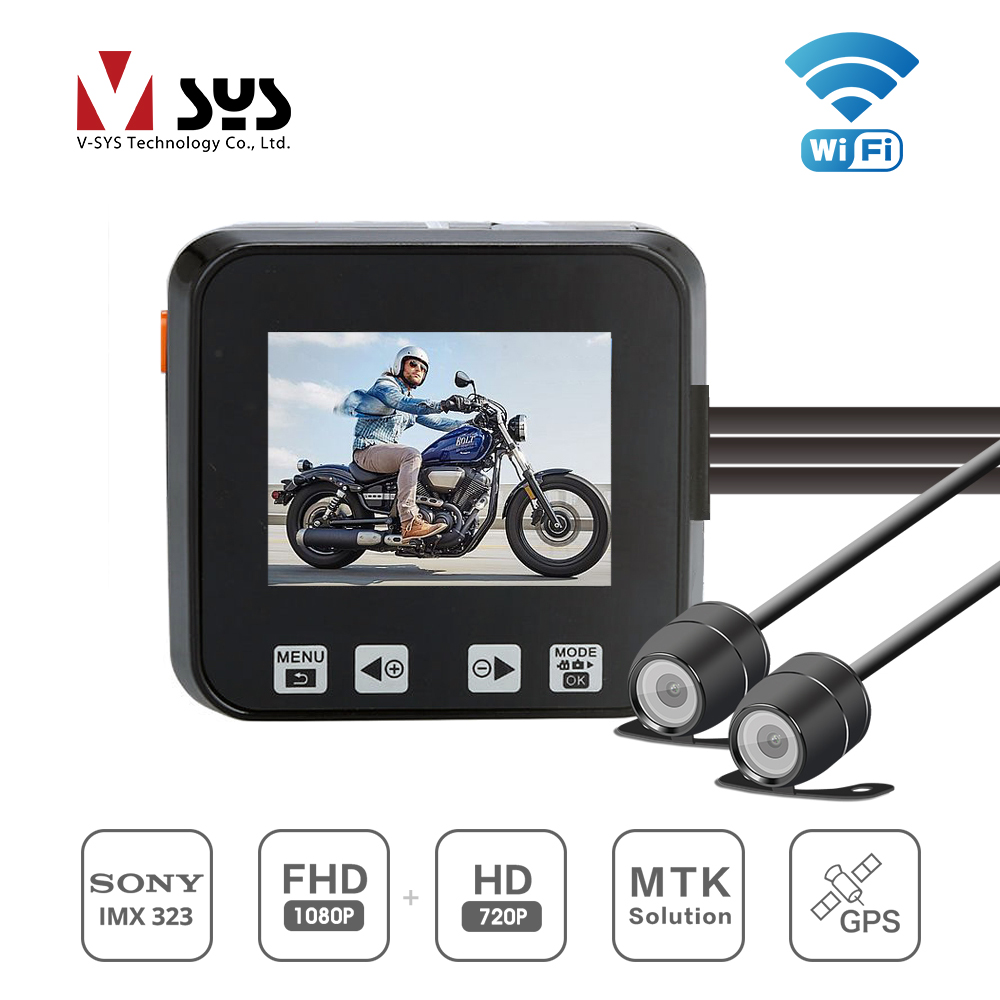 SYS M6 WIFI Latest release black box bike camera with waterproof 1080+720 dual lens DVR for road safety and sports recording
