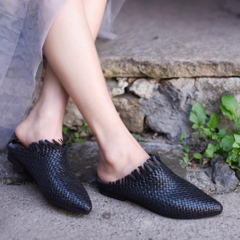 Artmu 원래 레트로 양모 손으로 짠 여성 신발 편안한 프린지 지적 발가락 랩 샌들 플랫 소프트 슬리퍼 1818 8-에서슬리퍼부터 신발 의  그룹 1