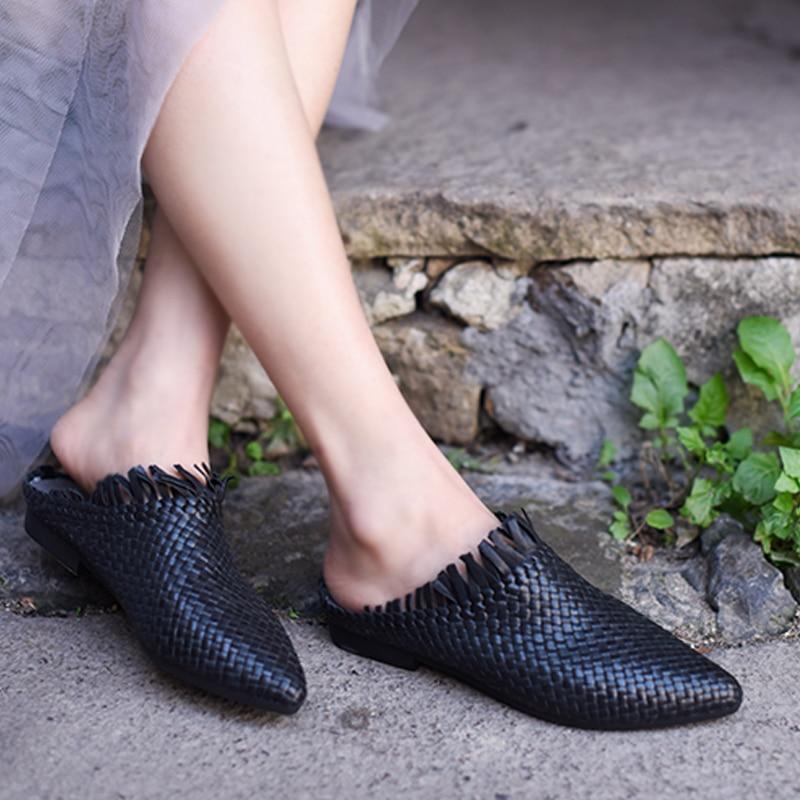 Artmu D'origine En Peau de Mouton Rétro Tissés À La Main Femmes Chaussures Confortable Fringe Bout Pointu Wrap Sandales Plat Chaussons 1818-8