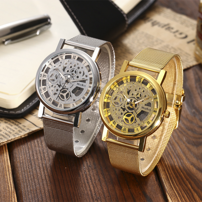 2018 Hot New Fashion Stainless Band Quartz Non Mechanical Hollowed Out Wrist Lovers Watch Luxury Women Simple Watch Mesh Steel new fashion full stainless steel silver web band dress quartz wrist watch wristwatches for men women lovers couple