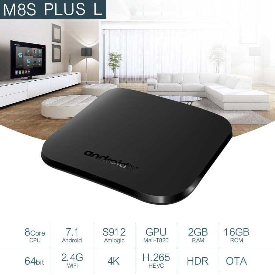 Mecool M8S PLUS L Smart TV Box Android 7.1 2GB RAM 16GB ROM S912 64bit Octa 2.4G WIFI 4K DLNA Smart Android Box TV Media Player