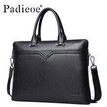 Padieoe brand Luxury men bags briefcase genuine leather laptop computer handbags luxury black shoulder messenger bag  48ZP01