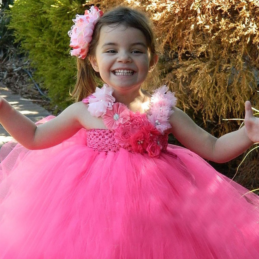 Hot Pink Flower Girl Tutu Dress With Flower Hair Clip Princess