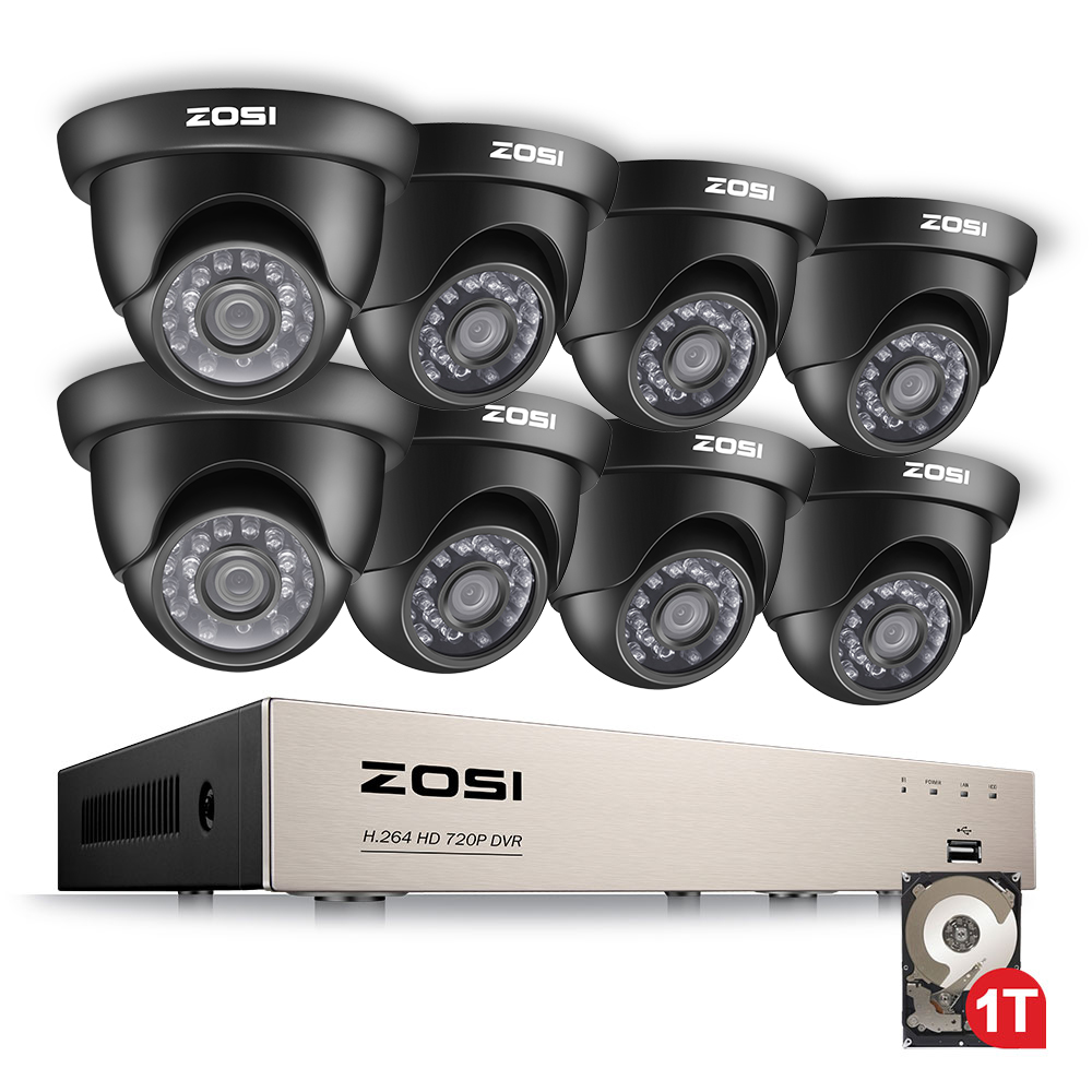 ZOSI 8-Channel HD-TVI 1080N DVR Security Surveillance System with 8 High-Resolution 720P/1280TVL Cameras and 1TB Hard Drive zosi 8 channel 1080n hd tvi dvr surveillance camera kit 8x 1280tvl 720p indoor outdoor ir weatherproof cameras 1tb hdd