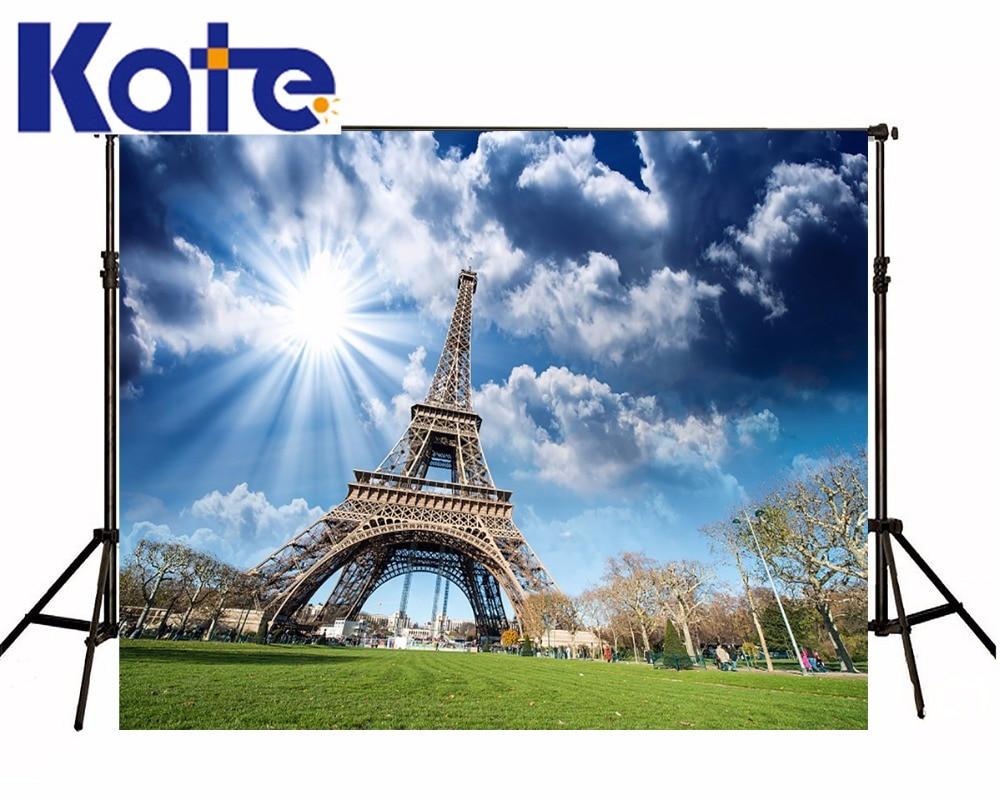 ФОТО Kate Eiffel Tower Backdrop Sky and Cloud Backdrop Outdoor Wedding Background Seamless Photo For Studio Custom