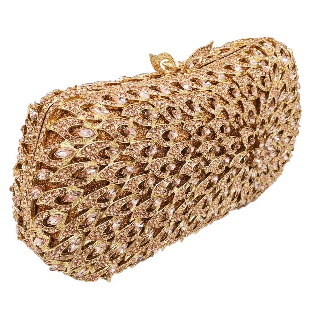 Image 2 - Boutique De FGG Hollow Out Women Diamond Evening Bags Metal  Minaudiere Purses and Handbags Bridal Wedding Crystal BagTop-Handle  Bags