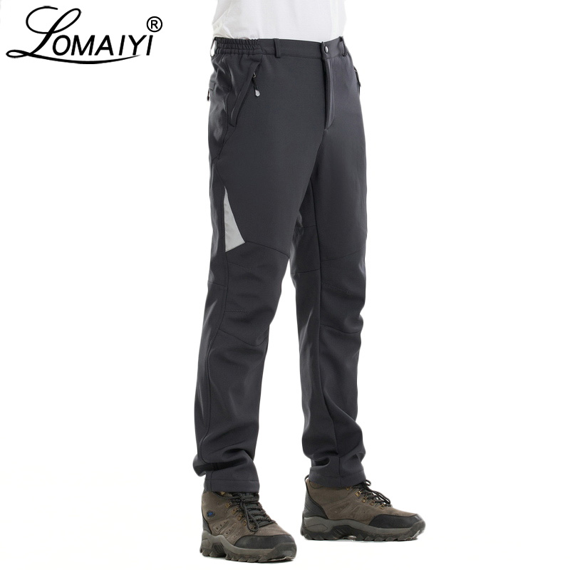 LOMAIYI Reflective Warm Men Pants Waterproof Casual Winter Softshell Work Trousers With Fleece Lining Men's Cargo Pants AM335
