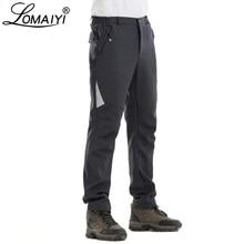 Lomaiyi reflexivo calças masculinas quentes à prova dwaterproof água inverno casual softshell trabalho com forro de lã calças de carga masculina am335