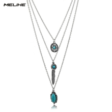 цена на Vintage Turquoise Flower Long Necklace Women Ethnic Leaf Gold Silver Chain Multilayer Necklaces Friendship  Colar SNE160117