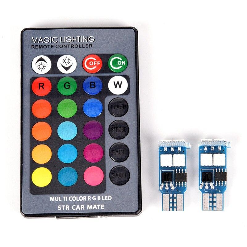 2 X T10 RGB 6 SMD 5050 светодиодный автомобильный клиновидный бортовой светильник Ширина светильник интерьера настольная лампа с дистанционным Упр...